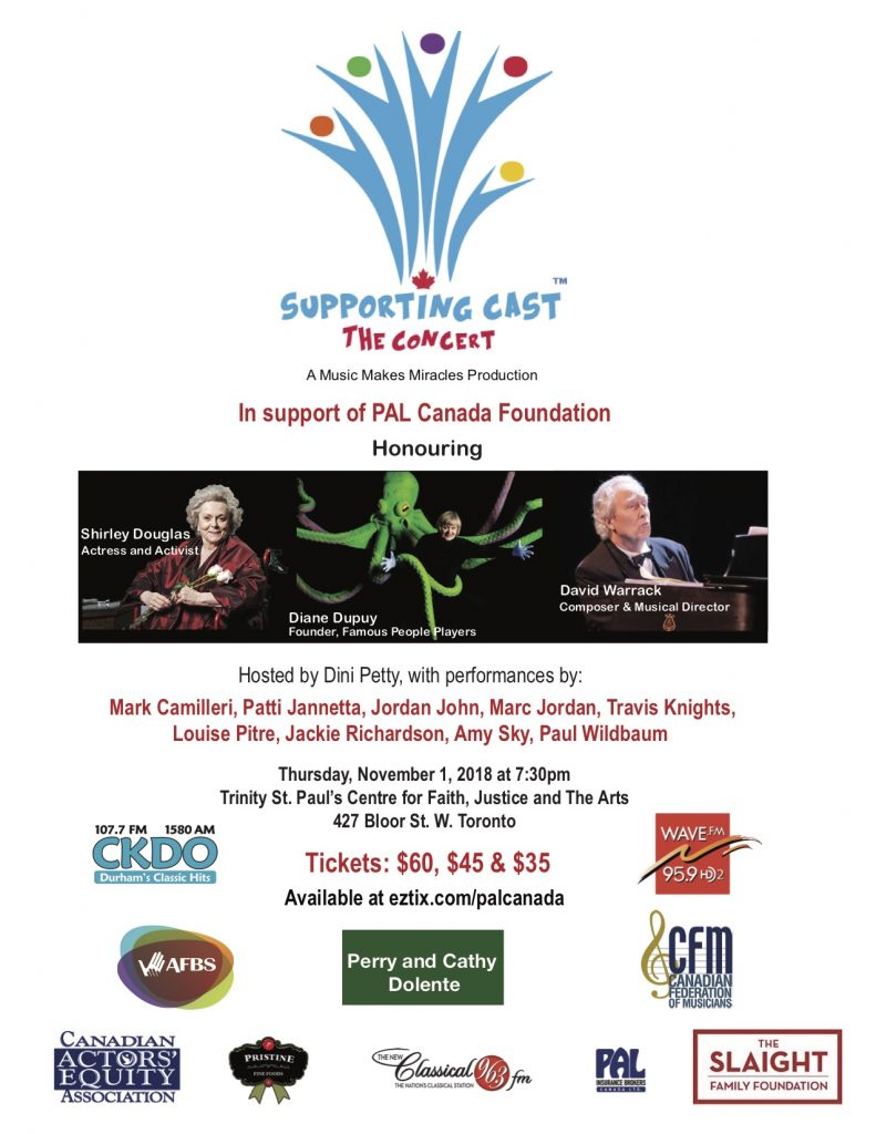 Poster for PAL CANADA fundraiser with Louise Pitre 2018